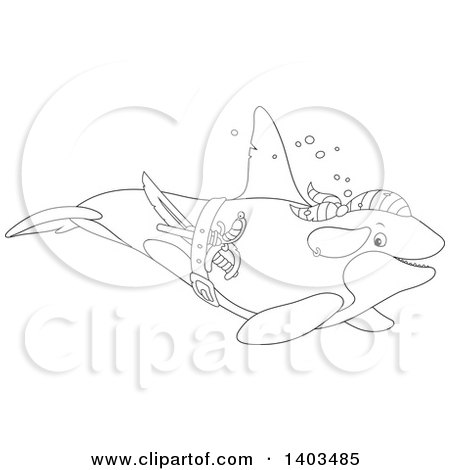 Clipart of a Black and White Lineart Pirate Killer Whale Orca Swimming - Royalty Free Vector Illustration by Alex Bannykh