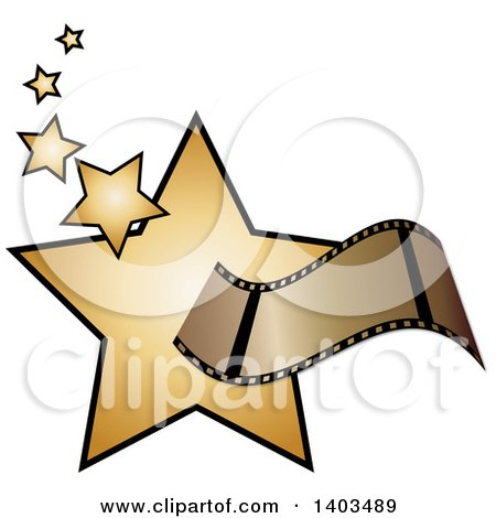 Clipart of a Film Strip over Golden Stars - Royalty Free Vector Illustration by Pams Clipart