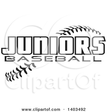 Clipart of Black and White Juniors Baseball Text over Stitches - Royalty Free Vector Illustration by Johnny Sajem