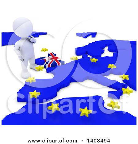 Clipart of a 3d White EU Referendum Man Standing over a Map, on a White Background - Royalty Free Illustration by KJ Pargeter