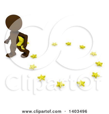 Clipart of a 3d Brown EU Referendum Man Carrying a Star and Walking Away from a Circle, on a White Background - Royalty Free Illustration by KJ Pargeter