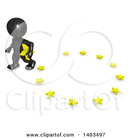 Clipart of a 3d Black EU Referendum Man Carrying a Star and Walking Away from a Circle, on a White Background - Royalty Free Illustration by KJ Pargeter