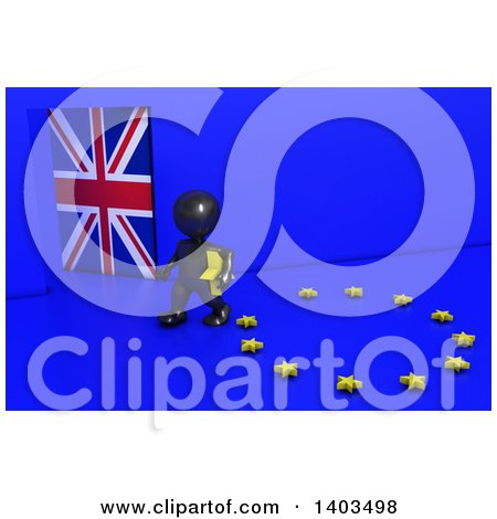 Clipart of a 3d Black EU Referendum Man Carrying a Star and Walking Away from a Ring, on a Blue Background - Royalty Free Illustration by KJ Pargeter