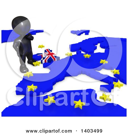 Clipart of a 3d Black EU Referendum Man Standing over a Map, on a White Background - Royalty Free Illustration by KJ Pargeter