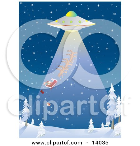 Presents Falling Out Of The Back Of Santas Sleigh While He And His Reindeer Are Being Sucked Up Through The Rays Of A UFO During An Abduction At Night Over A Snowy Winter Landscape On Christmas Eve Clipart Illustration