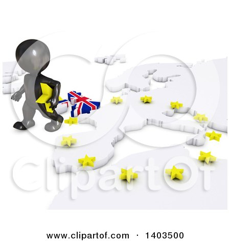 Clipart of a 3d Black EU Referendum Man Walking Away from a Map, on a White Background - Royalty Free Illustration by KJ Pargeter