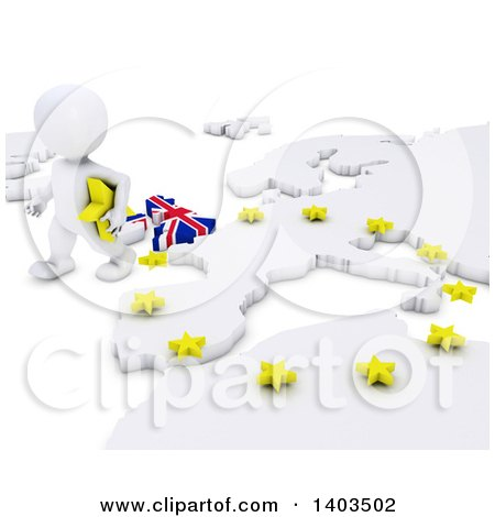 Clipart of a 3d White EU Referendum Man Walking Away from a Map, on a White Background - Royalty Free Illustration by KJ Pargeter