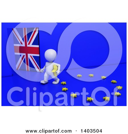 Clipart of a 3d White EU Referendum Man Carrying a Star and Walking Away from a Ring, on a Blue Background - Royalty Free Illustration by KJ Pargeter