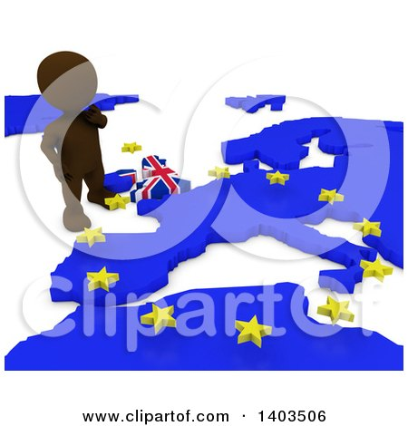Clipart of a 3d Brown EU Referendum Man Standing over a Map, on a White Background - Royalty Free Illustration by KJ Pargeter