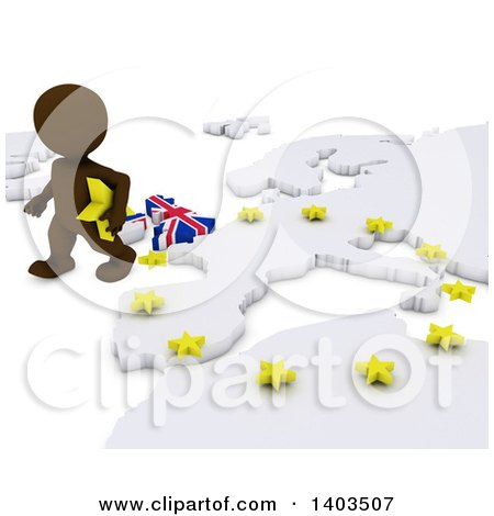 Clipart of a 3d Brown EU Referendum Man Walking Away from a Map, on a White Background - Royalty Free Illustration by KJ Pargeter