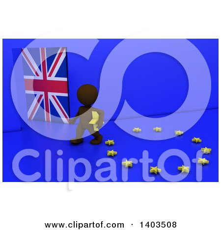 Clipart of a 3d Brown EU Referendum Man Carrying a Star and Walking Away from a Ring, on a Blue Background - Royalty Free Illustration by KJ Pargeter