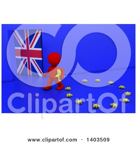 Clipart of a 3d Red EU Referendum Man Carrying a Star and Walking Away from a Ring, on a Blue Background - Royalty Free Illustration by KJ Pargeter