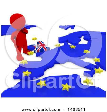 Clipart of a 3d Red EU Referendum Man Standing over a Map, on a White Background - Royalty Free Illustration by KJ Pargeter
