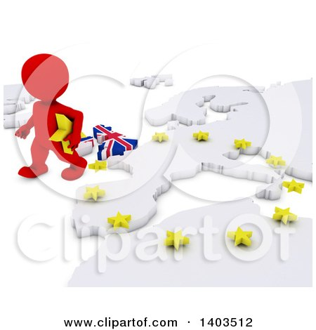 Clipart of a 3d Red EU Referendum Man Walking Away from a Map, on a White Background - Royalty Free Illustration by KJ Pargeter