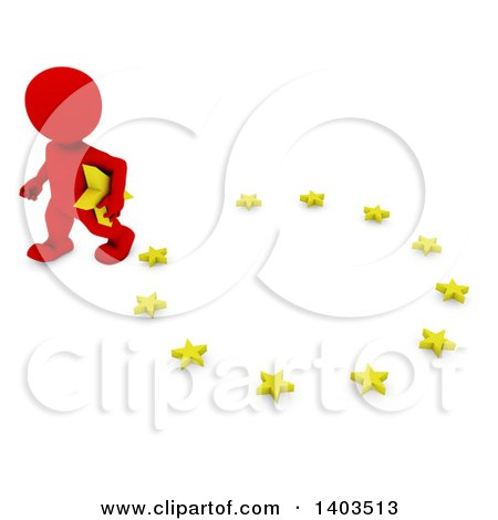 Clipart of a 3d Red EU Referendum Man Carrying a Star and Walking Away from a Circle, on a White Background - Royalty Free Illustration by KJ Pargeter
