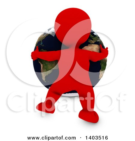 Clipart of a 3d Red Man Hugging the Earth, on a White Background - Royalty Free Illustration by KJ Pargeter