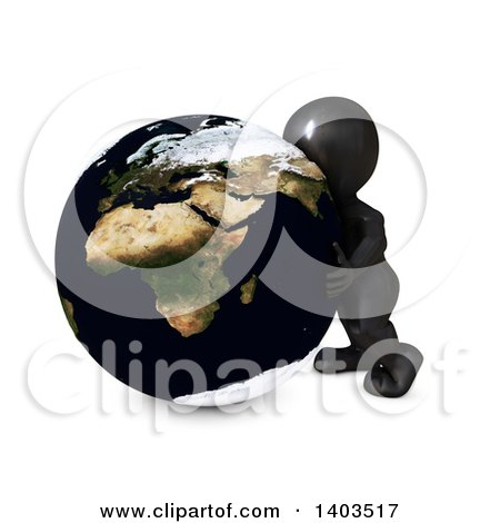 Clipart of a 3d Black Man Hugging the Earth, on a White Background - Royalty Free Illustration by KJ Pargeter