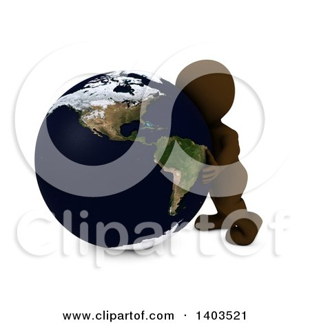 Clipart of a 3d Brown Man Hugging the Earth, on a White Background - Royalty Free Illustration by KJ Pargeter