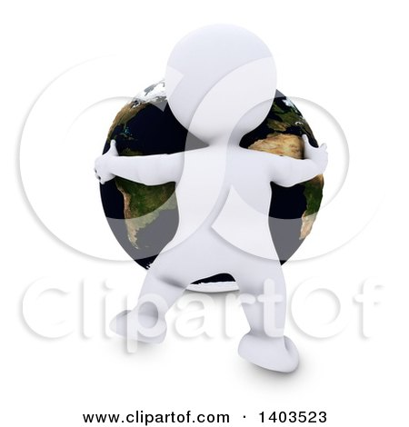 Clipart of a 3d White Man Hugging the Earth, on a White Background - Royalty Free Illustration by KJ Pargeter