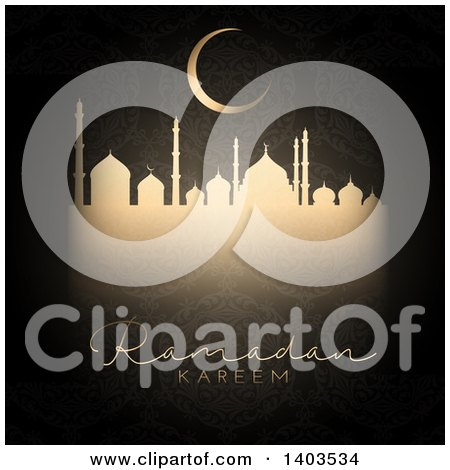 Clipart of a Ramadan Kareem Background with a Silhouetted Mosque, Text and Moon in a Gold Pattern on Black - Royalty Free Vector Illustration by KJ Pargeter