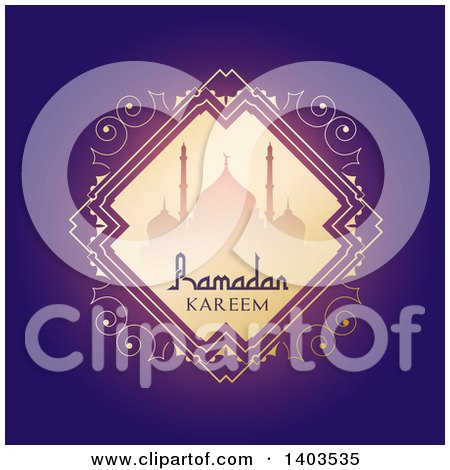 Clipart of a Ramadan Kareem Background with a Silhouetted Mosque and Text on Purple - Royalty Free Vector Illustration by KJ Pargeter
