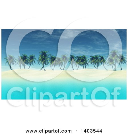 Clipart of a 3d Island with White Sand, Palm Trees and Blue Water - Royalty Free Illustration by KJ Pargeter