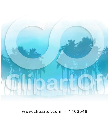 Clipart of a Watercolor Background of Blue Silhouetted Palm Trees - Royalty Free Vector Illustration by KJ Pargeter