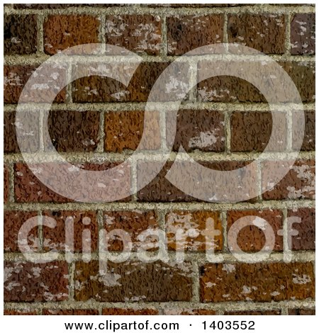 Clipart of a Worn Brick Wall Background - Royalty Free Vector Illustration by KJ Pargeter