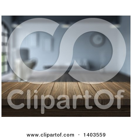 Clipart of a Blurred Interior with a 3d Wood Counter or Bar - Royalty Free Illustration by KJ Pargeter