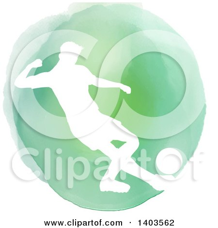 Clipart of a White Silhouetted Soccer Player over a Green Watercolor Circle, on a White Background - Royalty Free Vector Illustration by KJ Pargeter