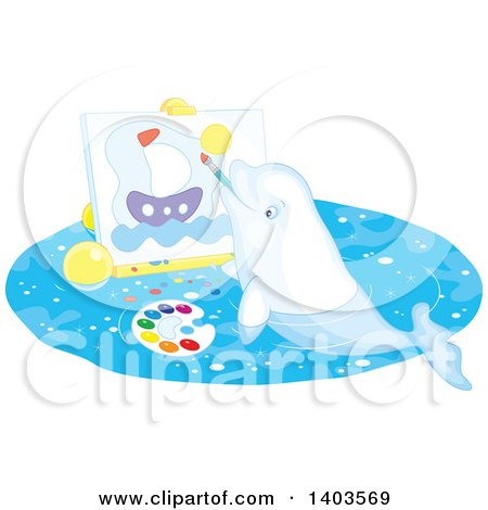 White Beluga Whale Painting a Sailboat on Canvas Posters, Art Prints