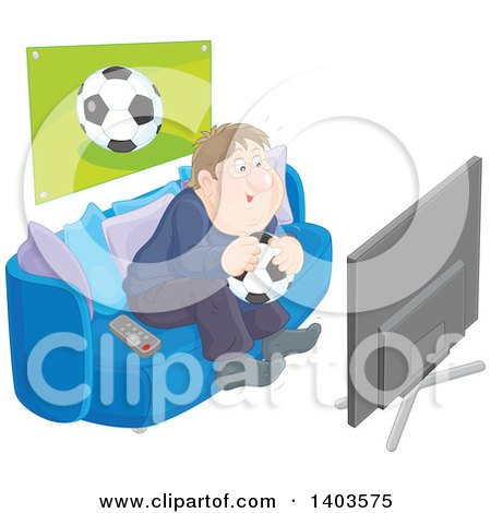 Clipart of a Chubby Caucasian Man Sitting on a Couch, Holding a Soccer Ball and Watching Tv - Royalty Free Vector Illustration by Alex Bannykh