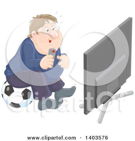 Clipart of a Chubby Caucasian Man Sitting on a Soccer Ball and Watching Tv - Royalty Free Vector Illustration by Alex Bannykh