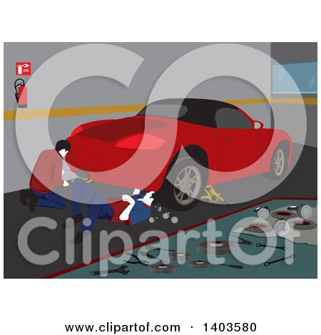 Clipart of Male Mechanics Working on a Car in a Garage - Royalty Free Vector Illustration by David Rey