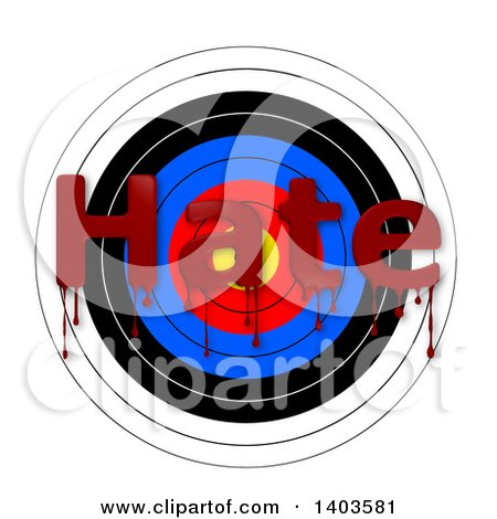 Clipart of a Target with Bloody HATE Text, on a White Background - Royalty Free Vector Illustration by oboy