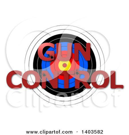 Clipart of a Target with Shot GUN CONTROL Text, on a White Background - Royalty Free Vector Illustration by oboy