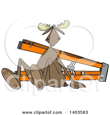 Clipart of a Cartoon Moose After Falling off of a Ladder - Royalty Free Vector Illustration by djart