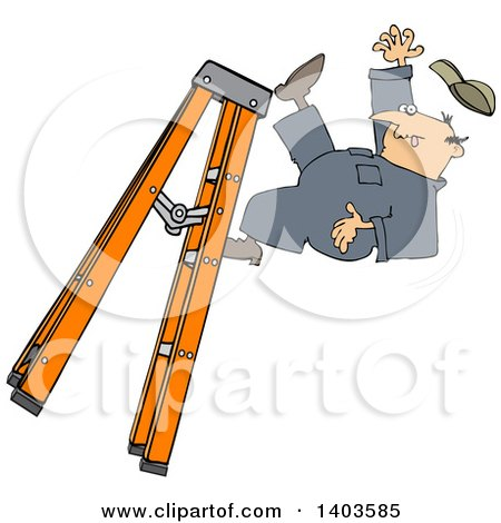 Clipart of a Cartoon Caucasian Male Worker Falling off of a Ladder - Royalty Free Vector Illustration by djart