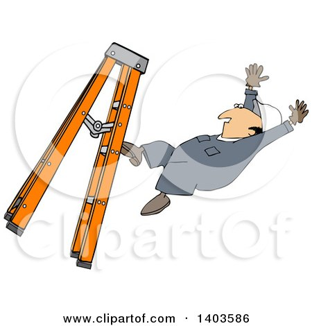 Clipart of a Cartoon Caucasian Male Worker Falling from a Ladder - Royalty Free Vector Illustration by djart