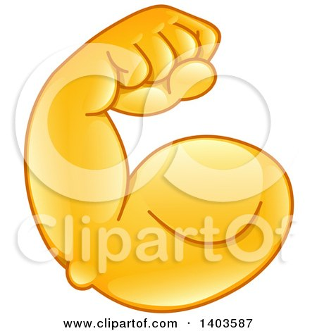 Clipart of a Cartoon Emoji Arm Flexing Its Muscles - Royalty Free Vector Illustration by yayayoyo