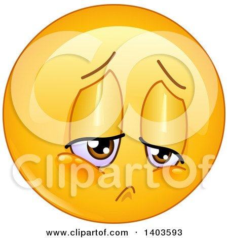 Clipart of a Cartoon Sad Yellow Smiley Face Emoij Emoticon - Royalty Free Vector Illustration by yayayoyo