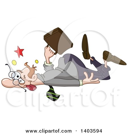 Clipart of a Cartoon Clumsy Caucasian Man Collapsing or Falling - Royalty Free Vector Illustration by yayayoyo
