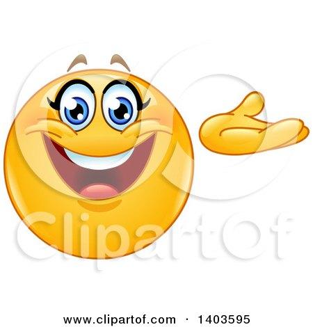 Clipart of a Cartoon Yellow Smiley Face Emoij Emoticon Presenting - Royalty Free Vector Illustration by yayayoyo