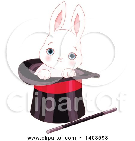 Clipart of a Cute Blue Eyed White Bunny Rabbit in a Magician's Top Hat - Royalty Free Vector Illustration by Pushkin