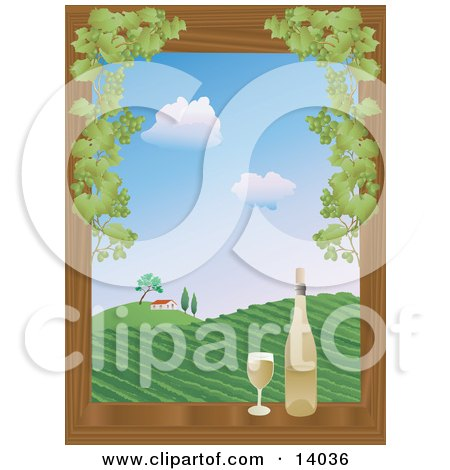 Full Glass Of White Wine Sitting On A Wooden Window Sill Framed By Green Grapes Beside A Wine Bottle Overlooking A View On A Hilly Vineyard And Winery House Under A Blue Sky With White Puffy Clouds Clipart Illustration by Rasmussen Images