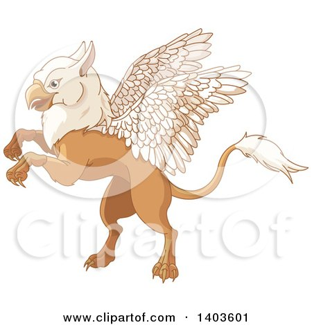 Clipart of a Cute Griffin Mythical Creature Rearing or Flying - Royalty Free Vector Illustration by Pushkin