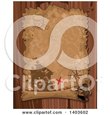 Clipart of an Aged Parchment Pirate Treasure Map Scroll over Wood - Royalty Free Vector Illustration by Pushkin