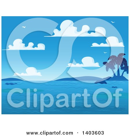 Clipart of a Blue Sky with Puffy Clouds and Gulls over Hills, a Tropical Island and Ocean - Royalty Free Vector Illustration by Pushkin