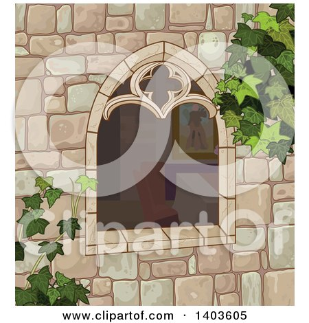 Clipart of a Medieval Castle Window with Ivy - Royalty Free Vector Illustration by Pushkin
