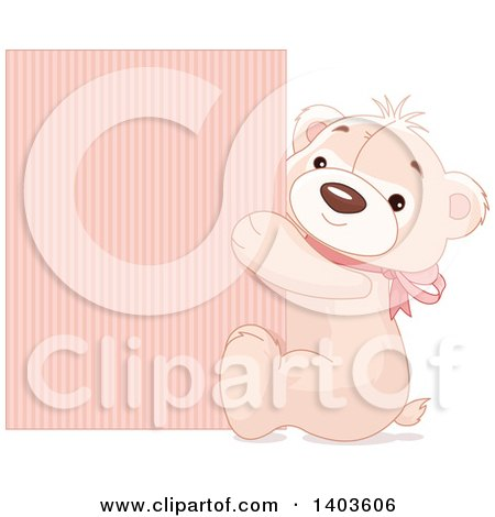 Clipart of a Cute Teddy Bear Wearing a Pink Bow and Hugging a Sign - Royalty Free Vector Illustration by Pushkin
